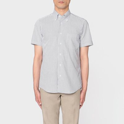 BARNEYS NEW YORK(バーニーズ ニューヨーク)ストライプ柄半袖ボタンダウンシャツ