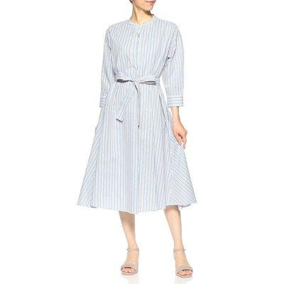 BARNEYS NEW YORK(バーニーズ ニューヨーク)ウォッシャブルストライプ柄バンドカラーシャツドレス