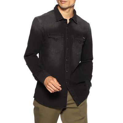 REPLAY(リプレイ)ブラックデニムウエスタンシャツ