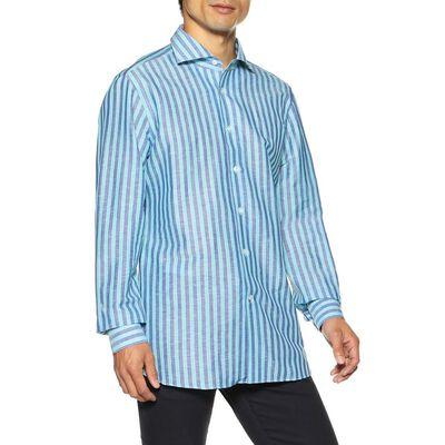 BORRIELLO(ボリエッロ)ストライプ柄リネンコットンシャツ