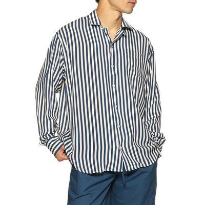 BAGUTTA(バグッダ)ストライプ柄レーヨンオープンカラーシャツ
