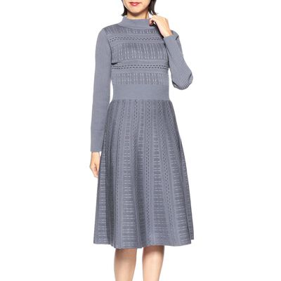 BARNEYS NEW YORK(バーニーズ ニューヨーク)透かし編み長袖ニットドレス