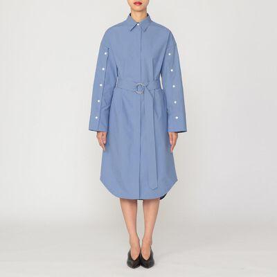 CINOH(チノ)ボタンスリーブベルテッドシャツドレス