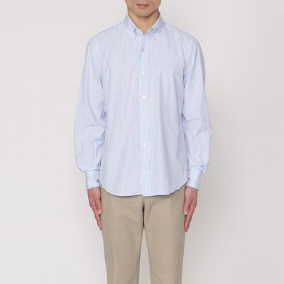FINAMORE(フィナモレ)ストライプ柄シアサッカーシャツ