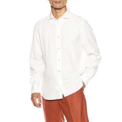 FINAMORE(フィナモレ)ワッフルストライプシャツ