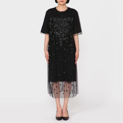 MUVEIL(ミュベール)スパンコールジャージードレス