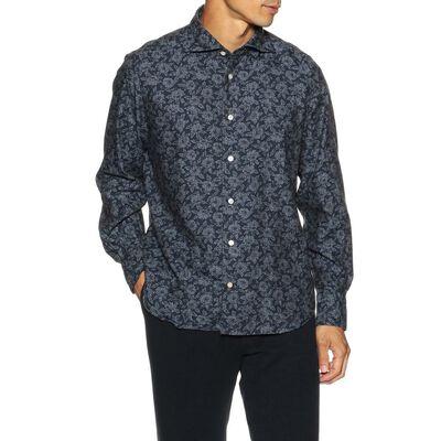 FINAMORE(フィナモレ)フラワープリントネルシャツ