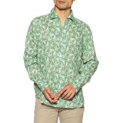 FINAMORE(フィナモレ)プリントオープンカラーリネンシャツ