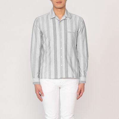 BARNEYS NEW YORK(バーニーズ ニューヨーク)マルチストライプ柄オープンカラーシャツ