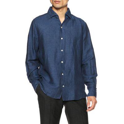 FINAMORE(フィナモレ)リネンコットンインディゴジャージーシャツ