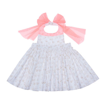 "MARLMARL(マールマール)お食事エプロン ""bouquet"" (white flower)"