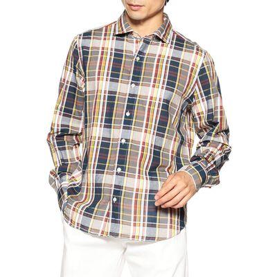 FINAMORE(フィナモレ)マドラスチェック柄シャツ
