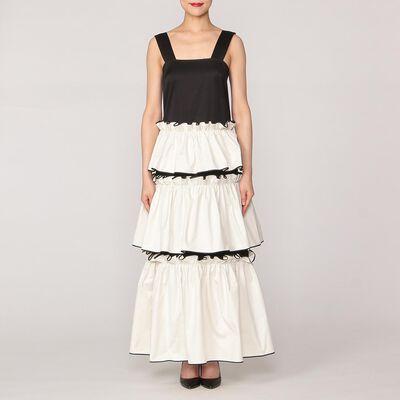 HUISHAN ZHANG(フーシャン ツァン)ラッフルノースリーブロングドレス