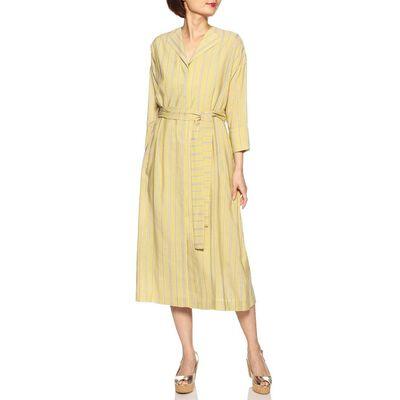 BARNEYS NEW YORK(バーニーズ ニューヨーク)ウォッシャブルストライプ柄ベルテッドシャツドレス