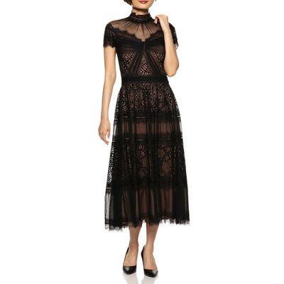 TADASHI SHOJI(タダシ ショージ)ハイネックレースドレス