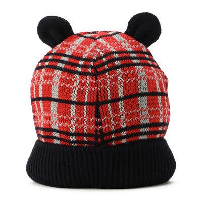 PETIT BATEAU(プチバトー)耳付きチェック柄ニット帽