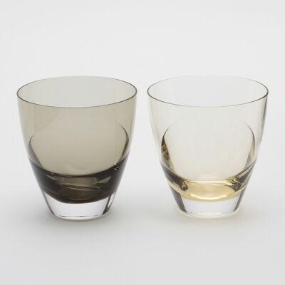 """SGHR(スガハラ)【ブライダルギフト】グラスセット """"cascade"""" タン&カーボンブラック"""