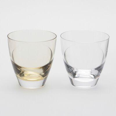 """SGHR(スガハラ)グラスセット """"cascade"""" クリア&タン"""