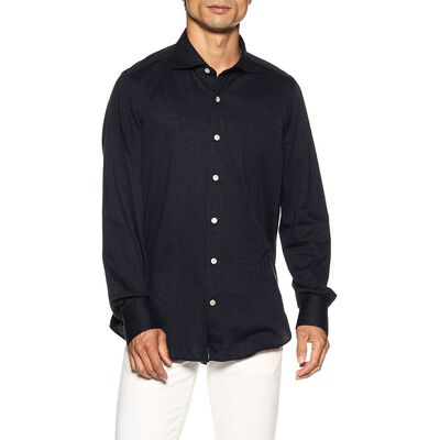 FINAMORE(フィナモレ)ヘリンボーン柄ジャージーシャツ