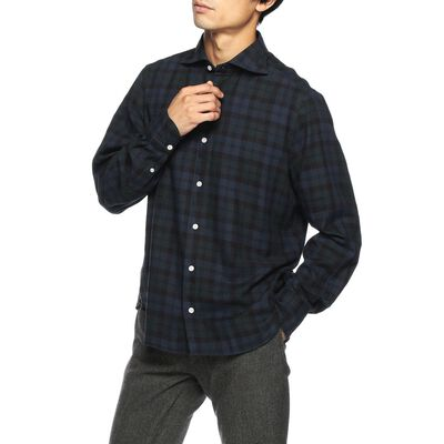 FINAMORE(フィナモレ)ブラックウォッチ柄シャツ