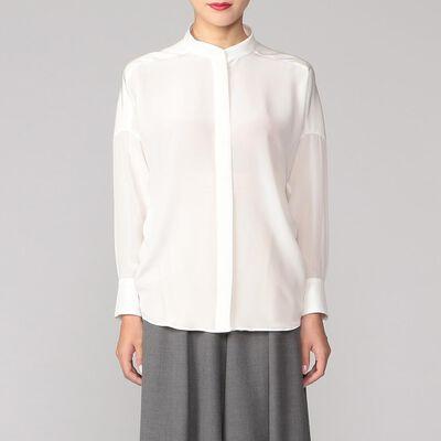 BARNEYS NEW YORK(バーニーズ ニューヨーク)シルクストレッチスタンドカラーシャツ