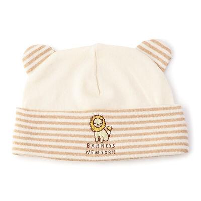 BARNEYS NEW YORK(バーニーズ ニューヨーク)ボーダー柄オーガニックコットン耳付き新生児用キャップ