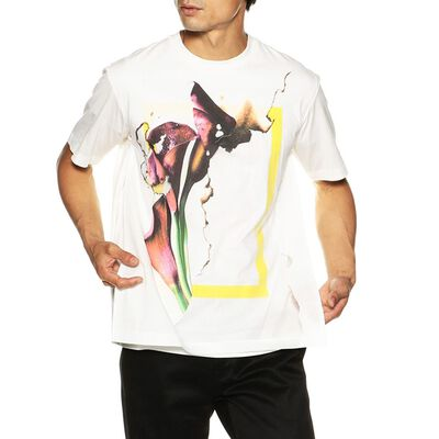 TAAKK(ターク)メッシュレイヤープリントTシャツ