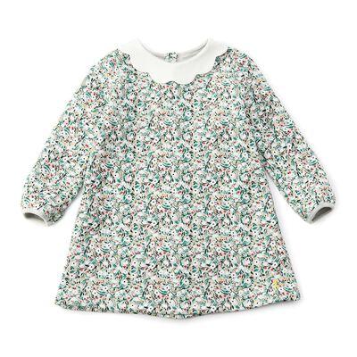 PETIT BATEAU(プチバトー)スカラップカラーフラワープリントドレス