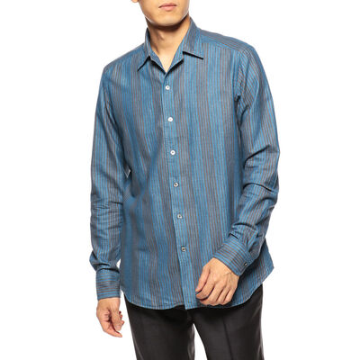 BAGUTTA(バグッダ)ストライプ柄オープンカラーシャツ