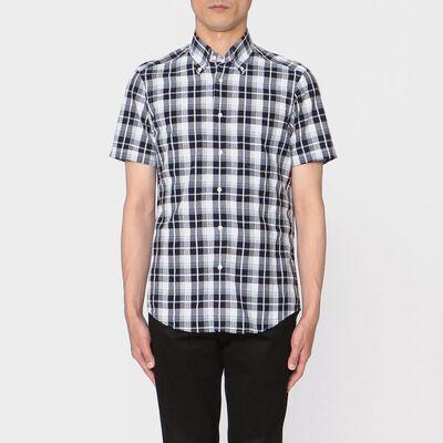 BARNEYS NEW YORK(バーニーズ ニューヨーク)チェック柄半袖シアサッカーシャツ