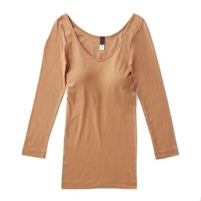 SOUPLE LUZ(スープレルース)カップ付き7分袖Tシャツ