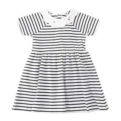 PETIT BATEAU(プチバトー)ボーダープリントガールズドレス